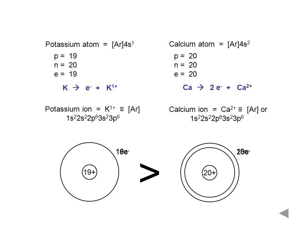 > Potassium atom = [Ar]4s1 Calcium atom = [Ar]4s2 p = 19 n = 20